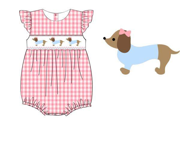 Pink Gingham Smocked Dachshund Angel Sleeve Bubble