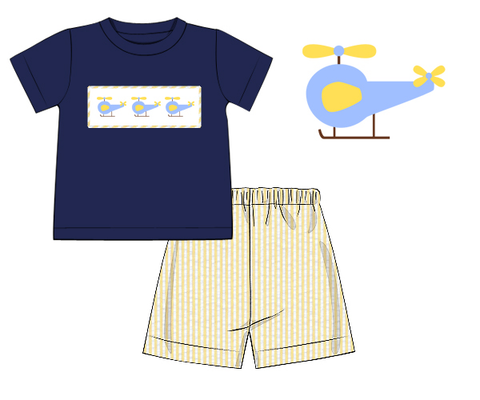 Navy Smocked Helicopters Shirt & Yellow Seersucker Shorts