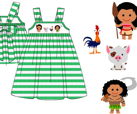 Girls Knit Green Striped Smocked Moana Dress with Tie Back