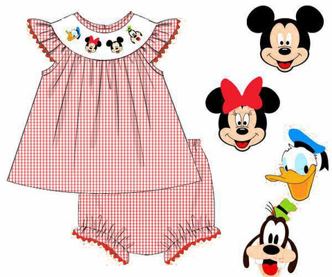 Girls Smocked Red Gingham Mouse and Friends Bloomer Set