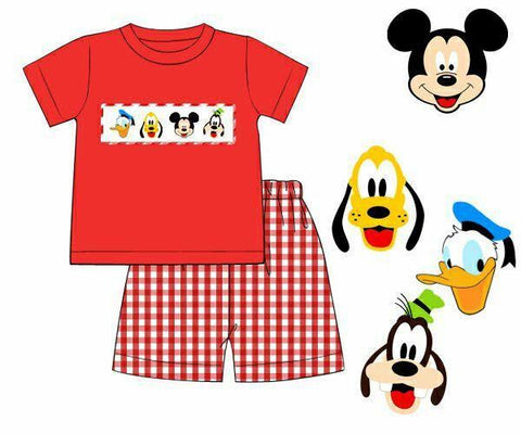 Boys Red Gingham Mouse and Friends Short Set