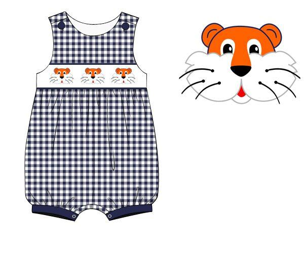 Navy Gingham Smocked Tiger Boys Romper