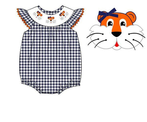 Navy Gingham Smocked Tiger Girls Bubble