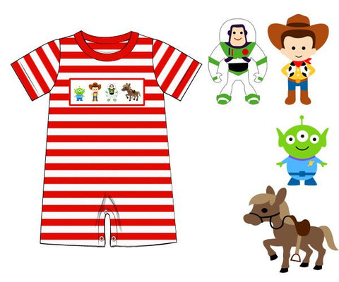 Red Striped Knit Boys Smocked Toys Romper