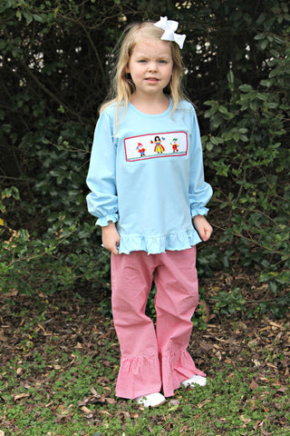 Light Blue Smocked Snow White and Dwarfs Shirt