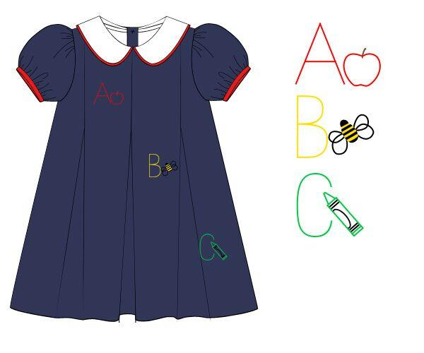 Navy Pleat Vintage Stitched School Days Dress