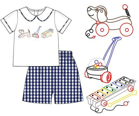 Boys Vintage Stitch Toys Float Collar Shorts Set