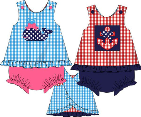 Reversible Whale/Anchor Applique Bloomer Set