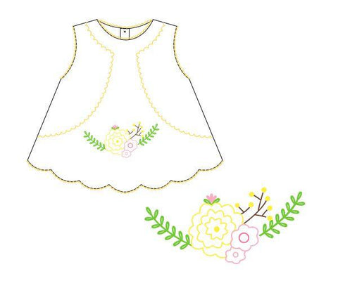 Monogrammable White with Floral Embroidered Swing Top Bloomer Set