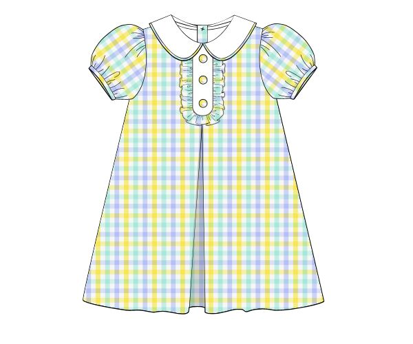 Yellow, Light Blue, & Mint Plaid Classic Vintage Length Dress, Girls Dress, The Smocking Bug, The Smocking Bug