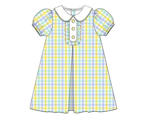 Yellow, Light Blue, & Mint Plaid Classic Vintage Length Dress