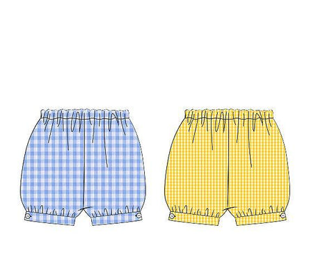 Yellow Gingham & Blue Check Reversible Banded Shorts