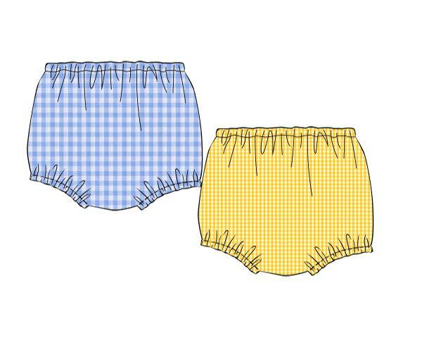 Yellow Gingham & Blue Check Reversible Diaper Cover