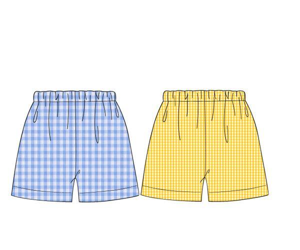 Yellow Gingham & Blue Check Reversible Shorts