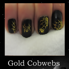 Gold Cobweb halloween nail sticker water transfer