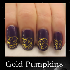 Gold Pumpkins Halloween Nail Designs