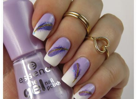 Purple & Lilac Feather Nail Art Water Decals