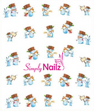 Snow men nail decal stickers