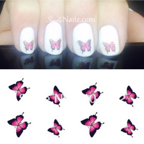 Pink & Gold Butterfly Water Decal