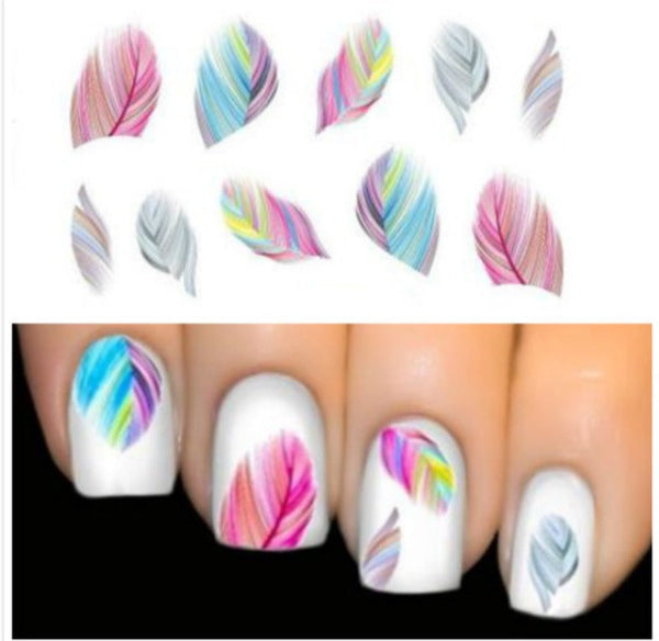 Colourful Feathers Nail Art Water Decals