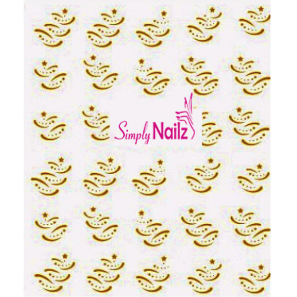 Gold Contemperary Christmas Tree Nail Decals