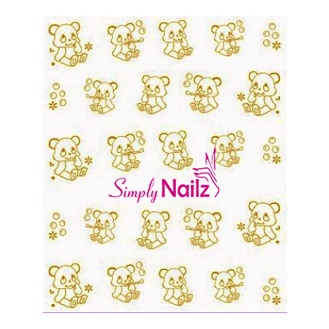 Gold Bear Nail Art Water Decals