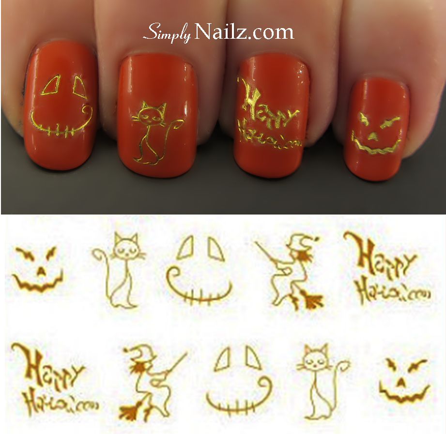 Gold Halloween Nail Decals