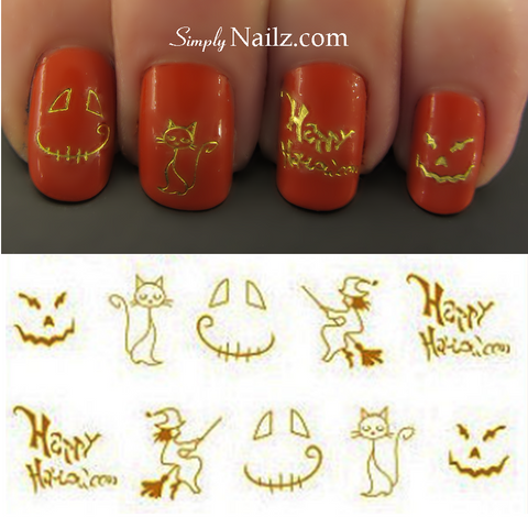 Gold Halloween Nail Art Water Decals