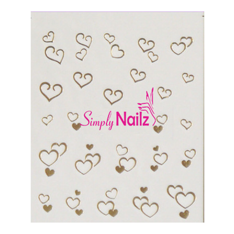 Gold Love Heart Nail Art Decals