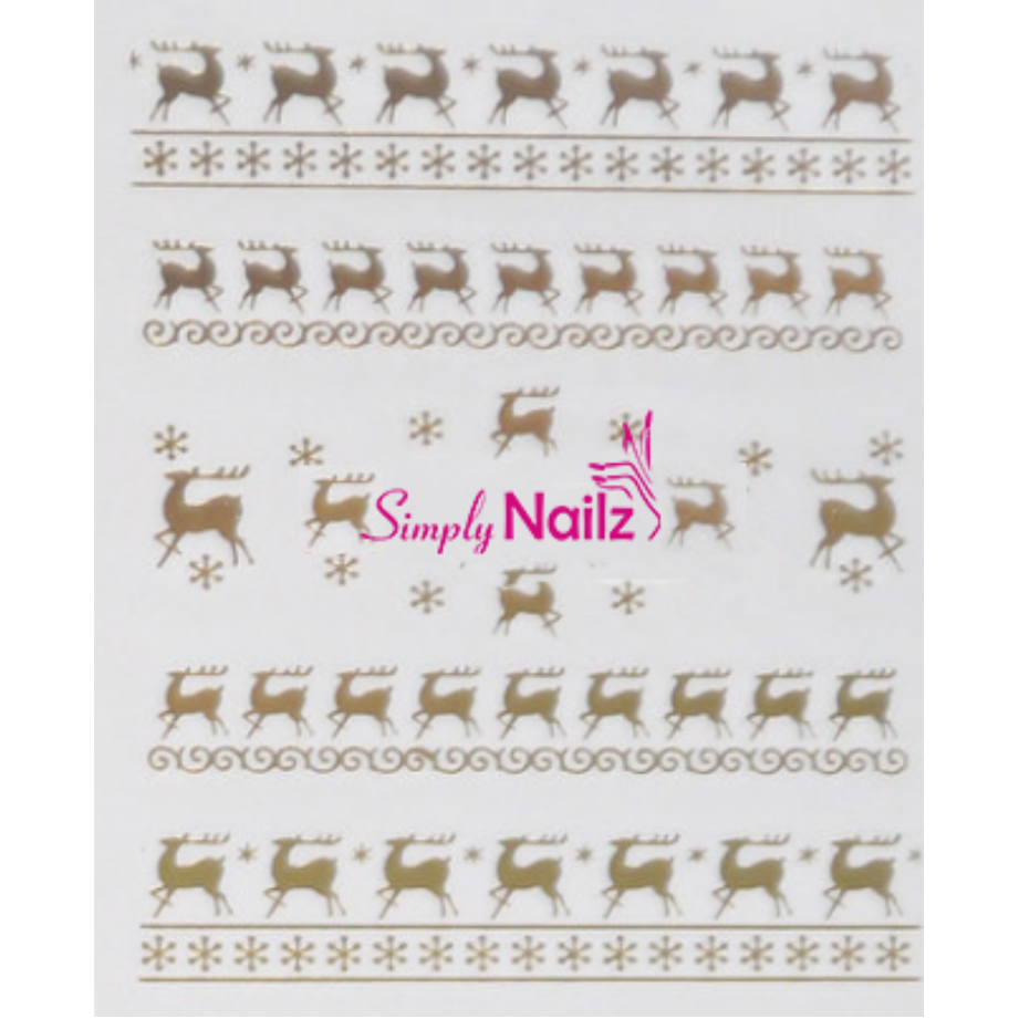 Gold Reindeer Christmas Nail Decals