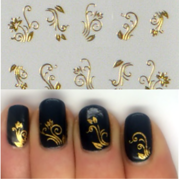 Gold Flower nail art decals image