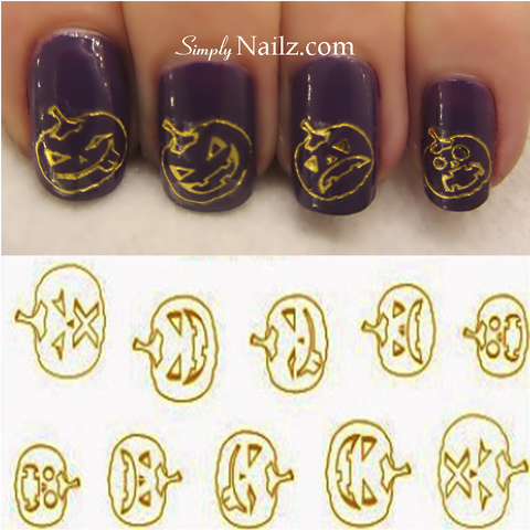 Gold Pumpkins Nail Art Water Decals