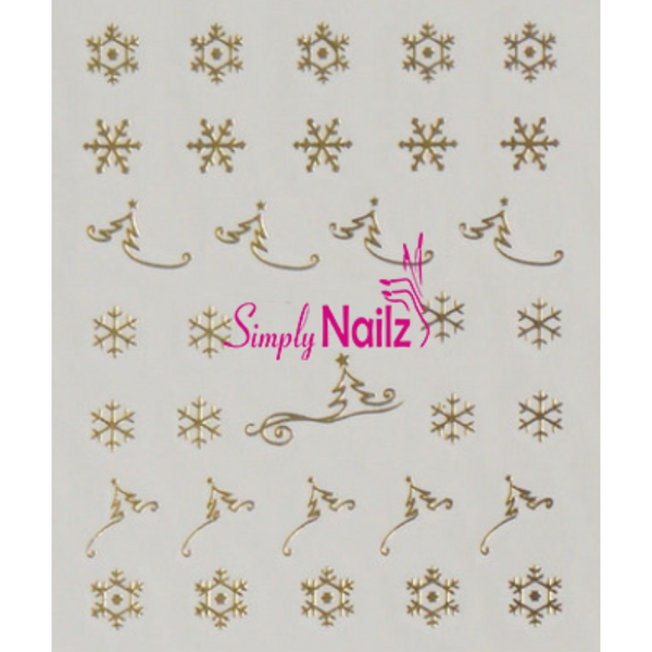 Gold Christmas Trees and Snowflake Nail Decals
