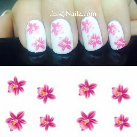 Bright Pink Lily Nail Art Water Decals