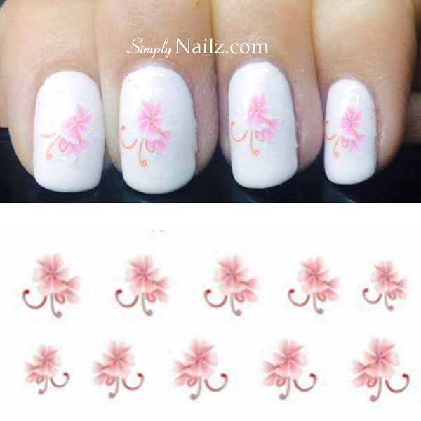 Pink flower nail decal