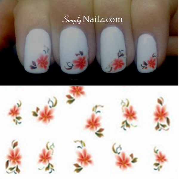 Red Flower nail water decal