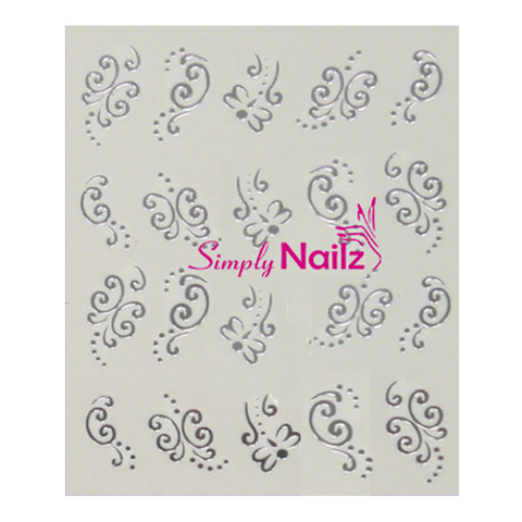 Silver Butterfly Nail Art Decals
