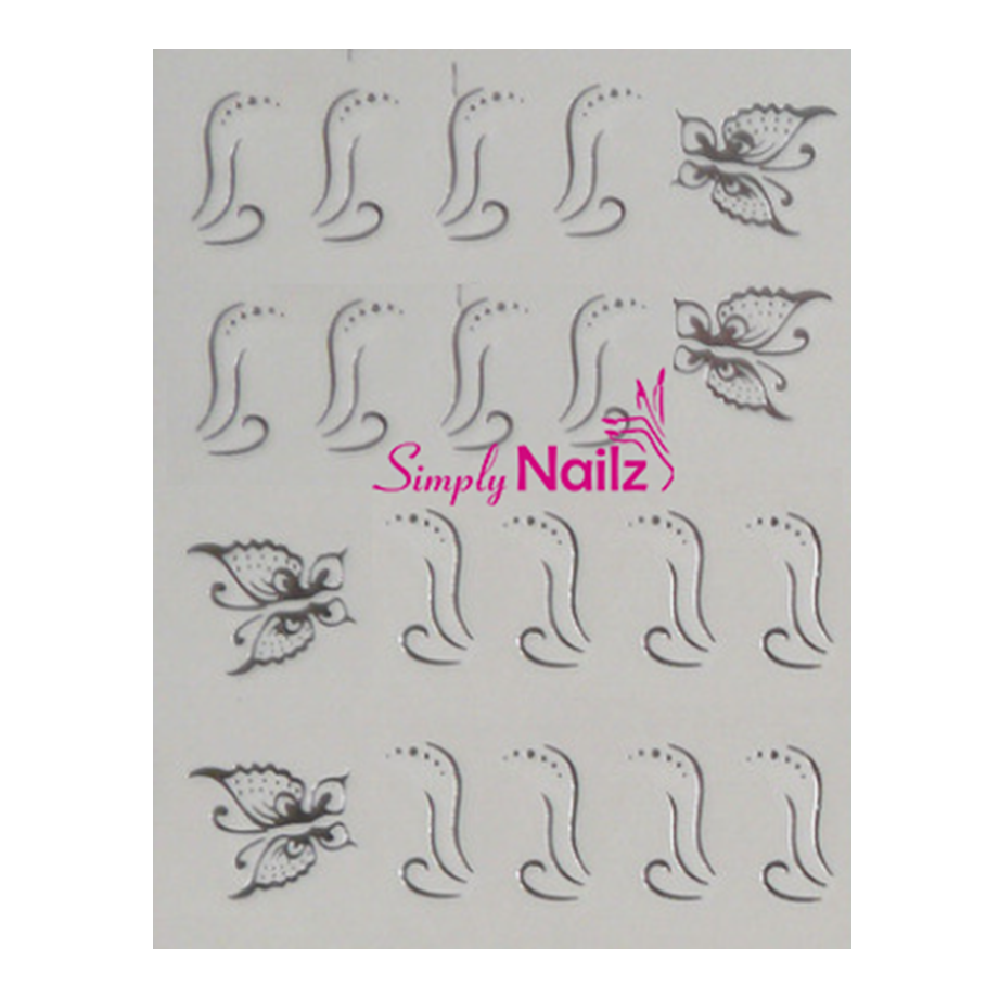 Silver Butterfly Nail Art Decal Stickers