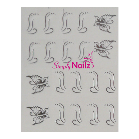 Modern Silver Butterfly Nail Art Decals
