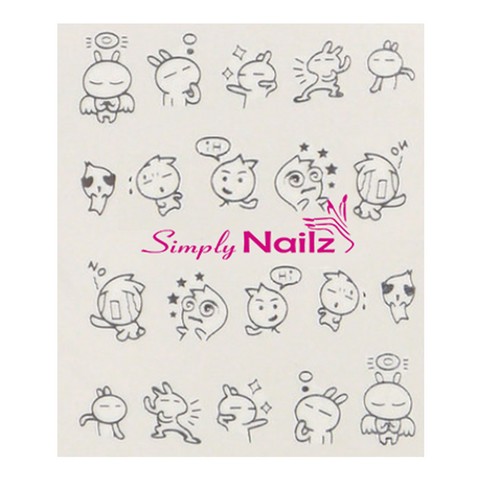 Silver Action Cartoon Nail Art Water Decal
