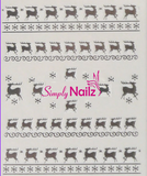 Silver reindeer christmas nail art sticker decals