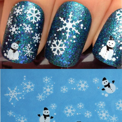 White Snowmen & Snowflake Nail Art Decals