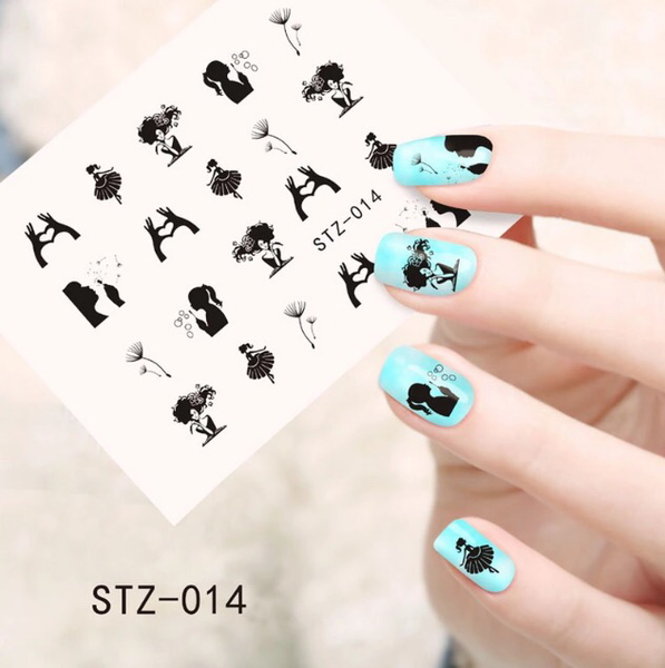 Black make a wish nail decals