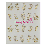 Gold Flower Nail Art Water Decals
