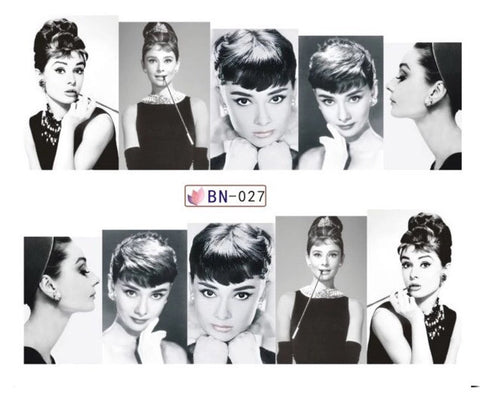 Audrey Hepburn Full Nail Water Decals