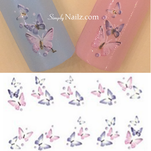 Pink & Blue Butterfly Water Decal