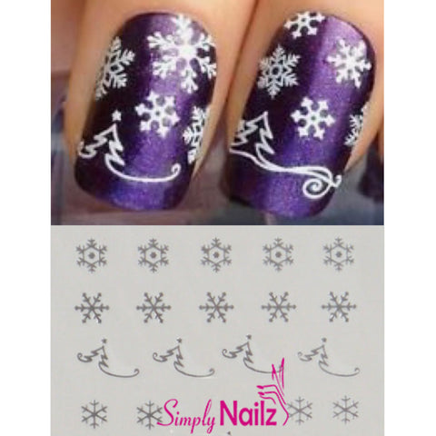 Silver Christmas Trees & Snowflake Nail Art Decals