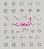 silver snowflake christmas nail art sticker decals