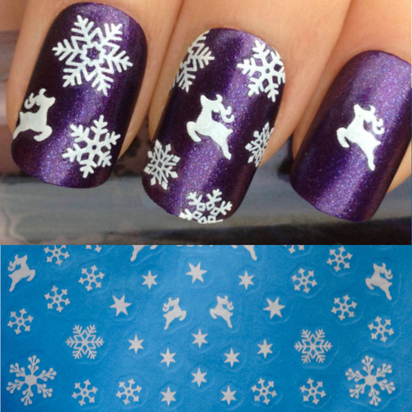 White Reindeer Christmas Nail Art Decals