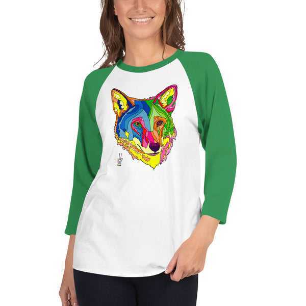 American Red Wolf 3/4 Sleeve Raglan Shirt